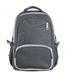 Denim Look Nylon Backpack with 4 Zips & Side Pockets
