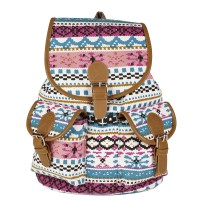 Boho Style Canvas Backpack with Top Flap & Two Front Pockets