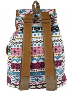 Lorenz Canvas Boho Style Backpack with Top Flap & 2 Front Pockets