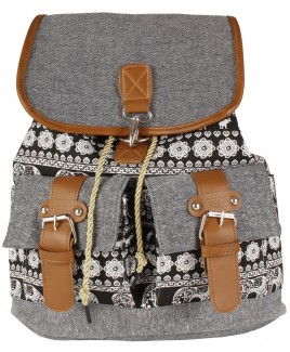 Canvas Boho Style Backpack with Clip Fastened Top Flap & 2 Front Pockets