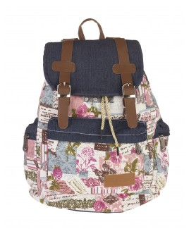 Boho Style Canvas Backpack with Top Flap & Zipped Front Pocket