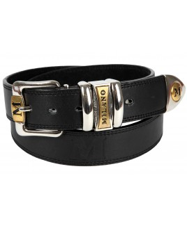 "1.5"" Embossed MIlano Jeans Belt with Chrome & Gilt Two Tone Buckle"