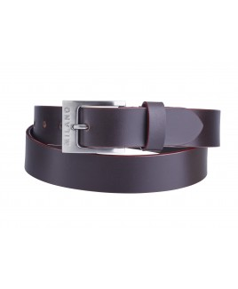 """Milano 1.25"""" Full Leather Belt in Smooth Leather with Coloured Edging"""