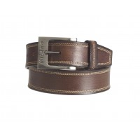 "Milano 1.5"" Full Leather Belt in Quality Distressed Leather with Double Stitching"