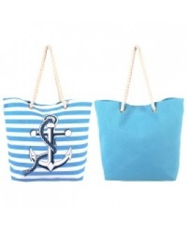 Canvas Style Sriped Anchor Beach Bag with Rope Handles -SALE PRICE! !