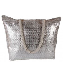 Top Zip Metallic Woven Beach Bag with Rope Handles -FURTHER REDUCTIONS! !