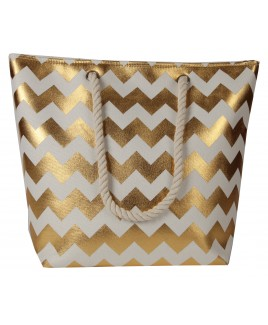 "Top Zip ""Zig Zag"" Pattern Beach Bag with Rope Handles -FURTHER REDUCTIONS! !"