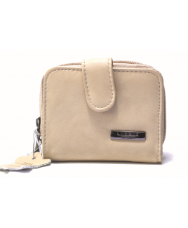 Lorenz Accessories RFID Protected Zip Round Cow Hide Purse with Back Pass Pocket- LOWER PRICE !