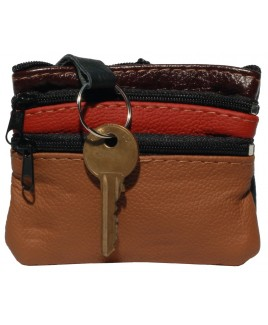 Cow Hide Small Multi Coloured Purse with 4 Zips- New Colours may not match images