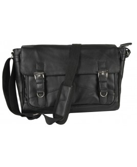 Lorenz Cow Hide Flapover Work/Student Bag with Buckles
