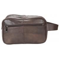 Lorenz Cow Hide Double Top Zip Wash Bag with Back Zip