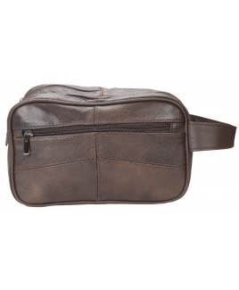 Lorenz Cow Hide Double Top Zip Wash Bag with Back Zip
