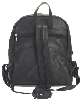 Lorenz Cow Hide Large Top Zip Backpack with Front & Back Zip and Top Handle