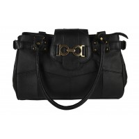 Lorenz Cow Hide Top Zip Handbag with Decorated Top Tab