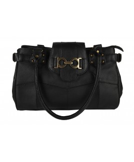 Lorenz Cow Hide Top Zip Handbag with Decorated Top Tab - PRICE DROP !