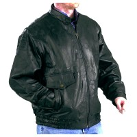 Patch Leather Jacket with Short Collar and Four Pockets