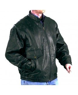 Patch Leather Jacket with Short Collar and Four Pockets-Massive Reductions!!