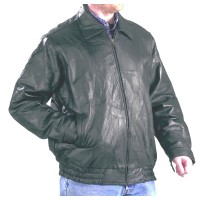 Patch Leather Jacket  with Two Pockets