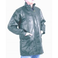Three Quarter Length Patch Leather Jacket