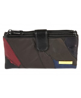Lorenz Economy Patchwork Open Out Twin Zip Purse with Tab