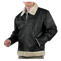 Full Leather Jacket  with Faux Fur Collar & Cuffs