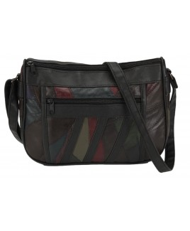 Patchwork Leather Twin Top Zip Bag with Front and Back Zip