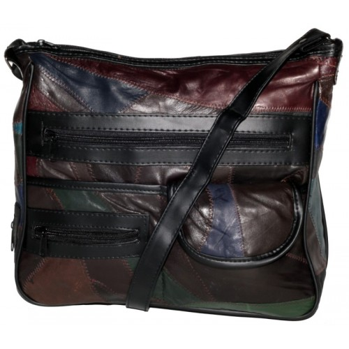 Economy Patchwork Leather Top Zip Organiser Bag