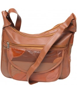 Patchwork Leather Twin Top Zip Bag with Front Pocket & Back Zip
