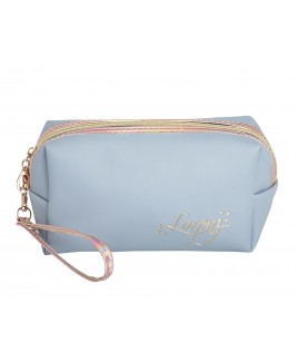 Zip Round Cosmetic Bag in Leather Grain PU with Holographic Trim and Wrist Strap