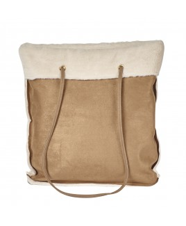 Large Faux Sheepskin Top Zip Tote Bag