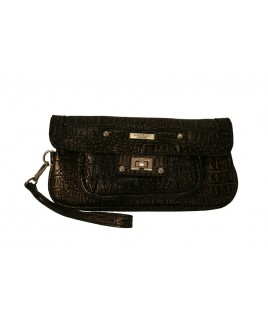Lorenz Croc Grain PVC Flap Over Clutch Bag with Twist Lock - - EVEN FURTHER REDUCTIONS!!