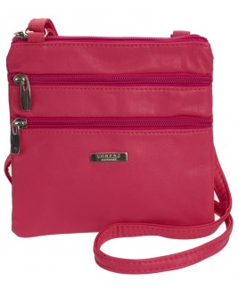 Lorenz Leather Grain PU Small Twin Section Bag - NEW COLOURS AVAILABLE !- BRIGHT RED, CERISE AND PURPLE