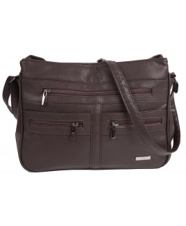 Lorenz Leather Grain PU Double Top Zip Bag with Multiple Zips