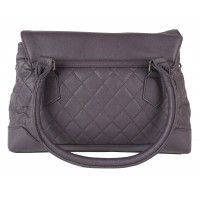 Lorenz Leather Grain PU Quilt Stitch Handbag with Twin Top Zip