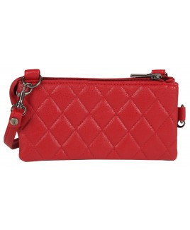 Lorenz Leather Grain PU Quilt Stitch Wrist Purse/Minibag with Top Zip- PRICE DROP!