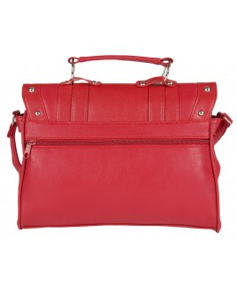 Lorenz Flapover Leather Grain PU Bag with Twin Zips & Studs- HUGE PRICE DROP!!