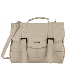 Lorenz Flapover Leather Grain PU Bag with Twin Zips & Buckles- BARGAIN PRICE !