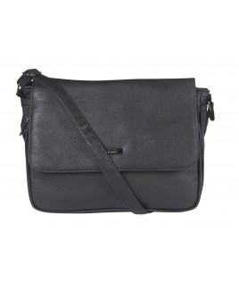 Lorenz Leather Grain PU Flapover Bag with Organiser Pocket