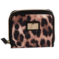Animal Print Zip Round Purse with Front Wallet Section