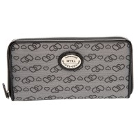 Long Textile Zip Round Purse with Inner Zip & Credit Card Slots
