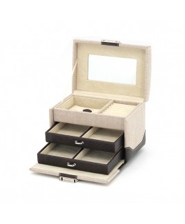 Two Drawer Jewellery Case with Top Chest Compartment