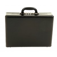 Black Leather Grain Finish Executive Case with Leather Inner