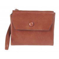 Lorenz RFID Protected Small Flapover Purse Wallet in Shiny Two-Tone PU