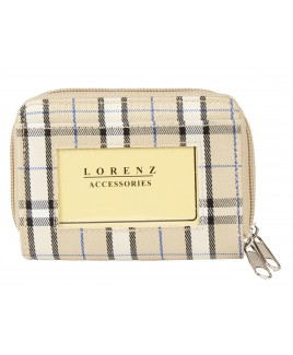 Lorenz Check Print Twin Zip Round Purse with Back Pass Pocket- NEW LOWER PRICE !