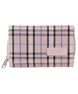 Lorenz Check Print  Zip Round Purse with Front Flap- PRICE REDUCTION!