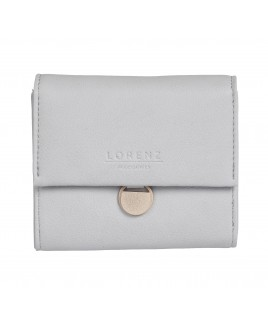 Lorenz RFID Protected Small Flapover Purse Wallet with Rose Gold Embellishment