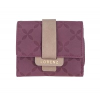 Lorenz RFID Protected Small Flapover Purse Wallet with Crisscross Pattern & Contrast Tab