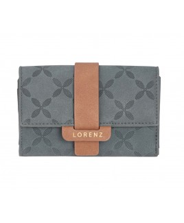 Lorenz RFID Protected Medium Flapover Purse Wallet with Crisscross Pattern & Contrast Tab