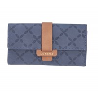 Lorenz RFID Protected Long Flapover Purse Wallet with Crisscross Pattern & Contrast Tab
