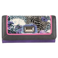 Lorenz Snake & Leather Grain PU Flapover Purse